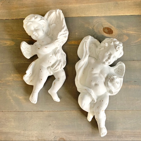 Hand Painted Distressed Vtg Homco Hanging Angels
